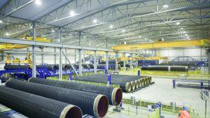 Gasrör vid Eupecs fabrik i Kotka avsedda för Nord Stream
