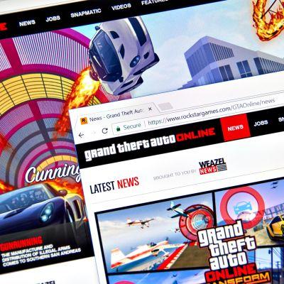 Ruudulla näkyy Grand Theft Auto -pelin verkkoversio.