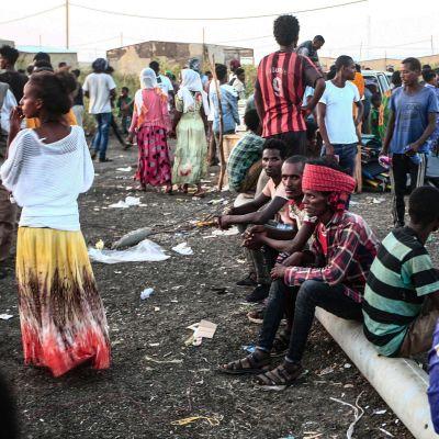 Etiopialaisia pakolaisia 13. marraskuuta.