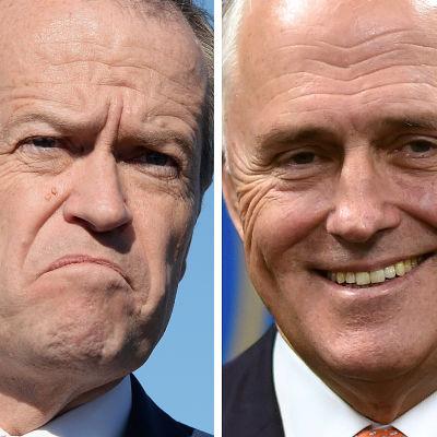 Den australiska Laborledaren Bill Shorten (t.v.) och den konservativa ledaren Malcolm Turnbull (t.h.).