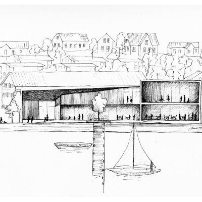 En ritning av ett hus och några båtar.