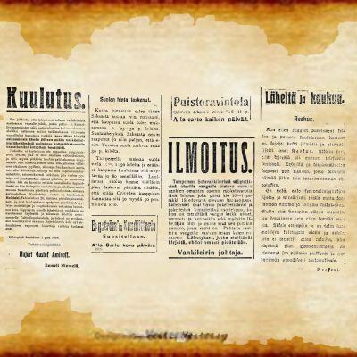 Sanomalehdistä poimittuja ilmoituksia toukokuulta ja heinäkuulta 1918