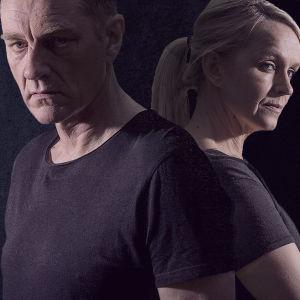Kari Sorjonen (Ville Virtanen) ja Lena Jaakkola (Anu Sinisalo) tummanpuhuvassa kuvassa selät vastaikkain.