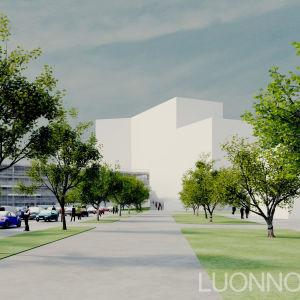En skiss av hur det nya H-huset vid Vasa centralsjukhus ska se ut.