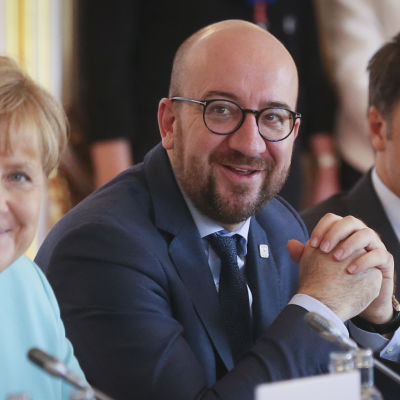Tysklands förbundskansler Angela Merkel, Belgiens premiärminister Charles Michel och hans italienska kollega Matteo Renzi vid EU-toppmötet i Bratislava.