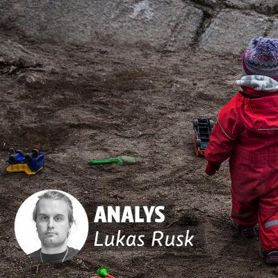 Analyslogga med ett porträtt på Lukas Rusk till vänster. I bakgrunden ett barn med ryggen mot kameran, mot en mörk bakgrund