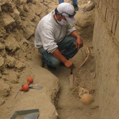 En arkeolog gräver hänsynsfyllt fram ett skelett i Peru.