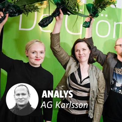 Gröna förbundets partikongress i Tammerfors sommaren 2017. Från vänster  viceordförandena Maria Ohisalo, Hanna Halmeenpää och Veli Liikanen, partisekreteraren Lasse Miettinen, delegationens ordförande Kaisa Hernberg och ordföranden Touko Aalto.