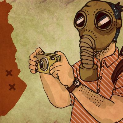 Kaasunaamarimies valokuvaa Suomen saastuneimpia kohteita