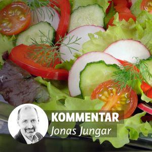 Bilda av sallad och porträtt på redaktör Jonas Jungar