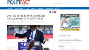 Kuvakaappaus PolitiFact -sivustolta