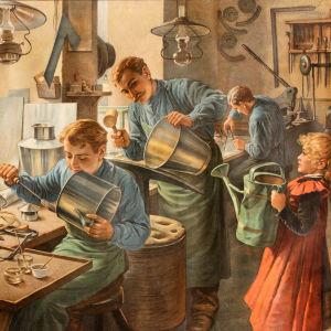 Påtslagare ur serien Meinholds hantverksbilder. Felix Eiβner, Tyskland före år 1904.