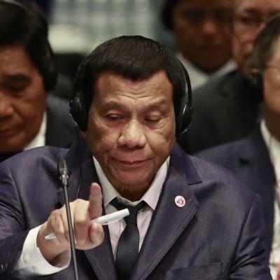 Presidentti Rodrigo Duterte kuvattuna Asean-huippukokouksessa Singaporessa 14. marraskuuta 2018.