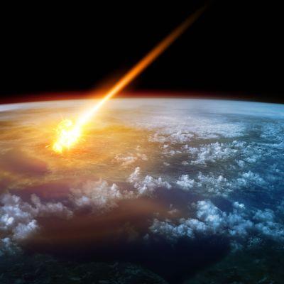 Graafikon näkemys asteroidin iskeytymisestä ilmakehään.