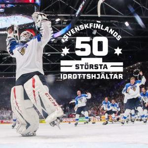 Kevin Lankinen och resten av Lejonen firar VM-guld 2019.