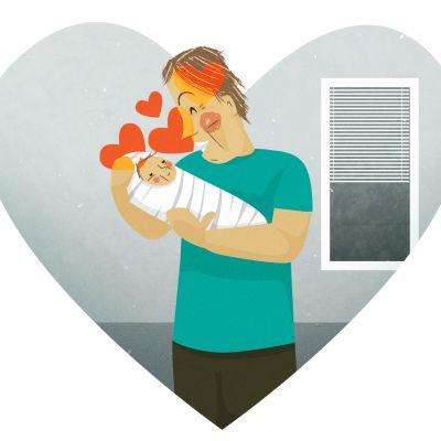 Grafiikka rakastavasta isästä vauva sylissään.