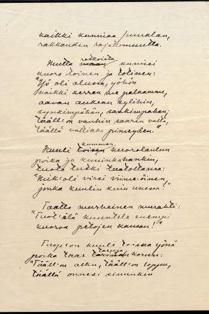 Eino Leinos manuskript till Mennyt manner i Helkasånger II.
