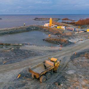 Pyhäjoen ydinvoimala-alueen rakennustöitä joulukuussa 2020