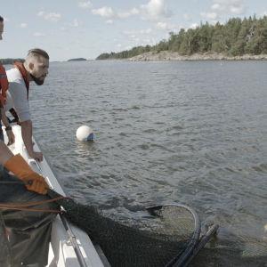 Tanja, Linda och Filip fiskar efter gös.