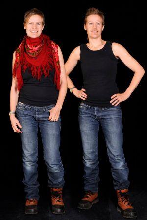 Heidi Lunabba som kvinna och man.