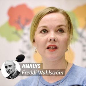 Bild av Katri Kulmuni med Freddi Wahlströms analys-stämpel på