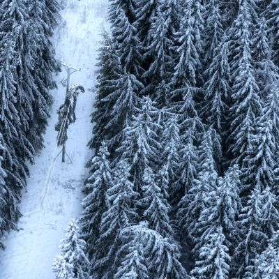 Ilmasta nähtynä sähkölinjalle kaatunut puu talvisessa metsämaisemassa Naantalissa.