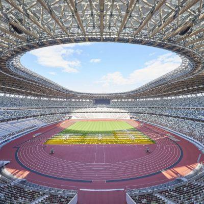 Huvudarenan i Tokyos nya olympiastadion fotograferad den 13.11. 2019. Den nya olympiastadion kom att kosta ungefär 1,4 miljarder dollar.