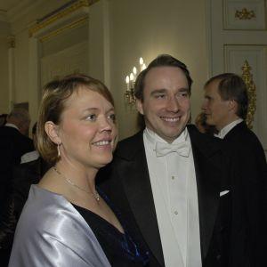 Tove och Linus Torvalds på presidentens mottagning 2005.