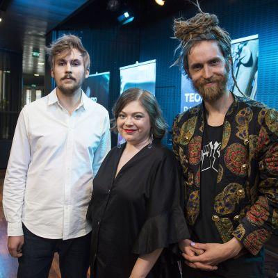 Sebastian Hilli, Stina Koistinen ja Nicolas 'Leissi' Rehn vuoden 2019 Teosto -palkintojen jakotilaisuudessa