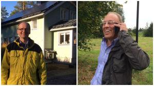 Wolfgang Goltsche ja Risto Jokinen hankkivat kotiinsa aurinkosähköjärjestelmän.