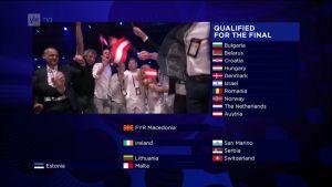 Euroviisujen 2017 Semifinaali 2:n finalistit