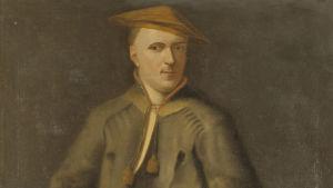 Yksityiskohta Martin Hoffmanin maalauksesta vuodelta 1737 Carl von Linnéstä kädessään hänen mukaansa nimetty kasvi Linnaea borealis (vanamo). Taustalla piirros Linnén kirjasta Praeludia Sponsaliorum Plantarum (1729).