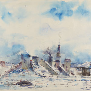 Moritz Müller: Dächer im Winter / Rooftops in the Winter (1944)