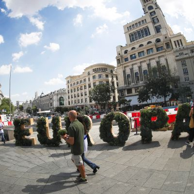 CoFoE-konferenssin ajaksi Madridin Gran Via-kadulle oli rakennettu Eurooppa-aiheinen installaatio.