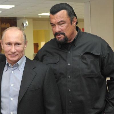 Steven Seagal visar upp sitt stora huvud jämte Putin. Steven vinner lätt.