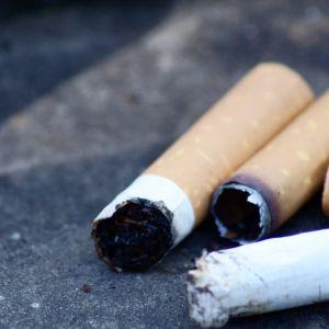 Tupakan tumppeja maassa.
