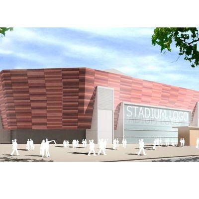 Ny fotbollsstadion i Hagalund i Esbo, så som den planerades i juli 2013.