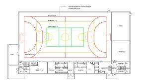 En ritning och karta över en idrottshall.
