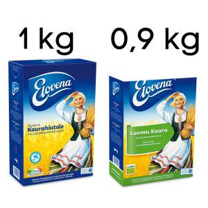 Kaksi Elovena-pakkausta.