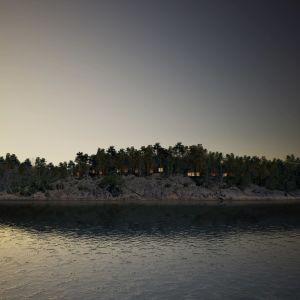 Ett berg i mörk skymning. På berget ser man mellan tallarna ljus i fönster som skymtar bakom tallarna. Framför berget vatten, hav, som är grått och med bara lätta krusningar.