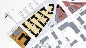 En plankarta som visar hur bostadshus kan byggas i Norra hamnen i Ekenäs.
