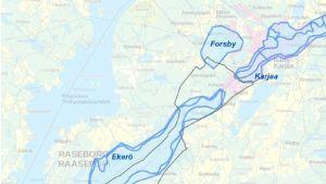 En karta som visar var det finns grundvatten på området mellan Ekenäs och Karis.