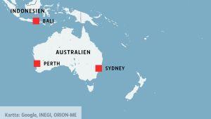 Karta över Australien och Indonesien, där Sydney, Perth och Bali är utskrivna.