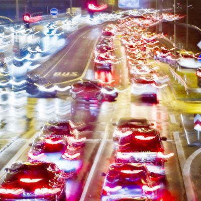 Liikenneruuhka Frankfurtissa.