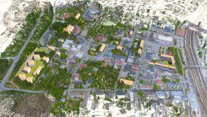 Digital karta i 3d över en plan för Karis centrum.
