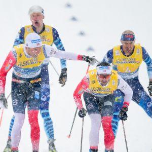 Finland och Norge växlar i stafetten.