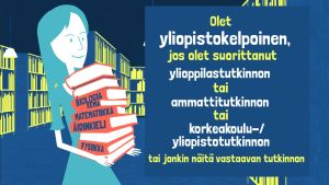 Tyttö kädessään kirjapino, jossa on kemian,matermatiikan, fysiikan ja äidinkielen kirjoja