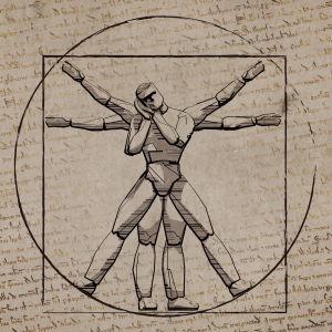 Leonardo Da Vincin Vitruviuksen mies nukkuu