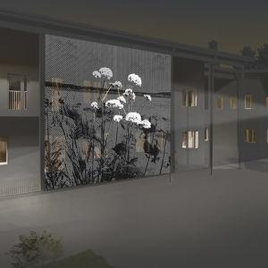 En låtsasbild av en stor bild som speglas på en yttervägg och som man kan se fast det är mörkt.