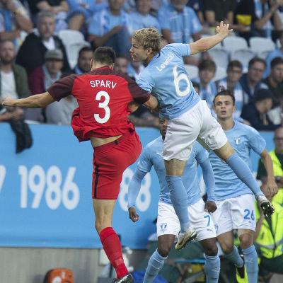 Tim Sparv slet 90 minuter mot Malmö FF.